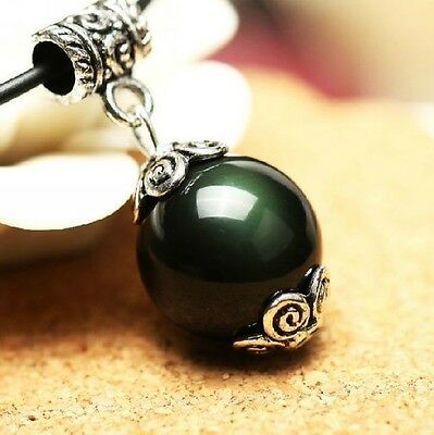 Feng Shui Natural Obsidian Bead Pendant Necklace amulet  -Anti Negative Energy