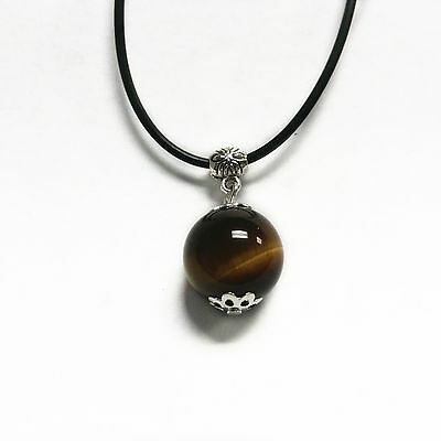 Feng Shui Yellow Tiger Eye/ Cat Eye Bead Necklace Pendant for Good Luck
