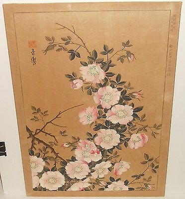 Old 19Th Century Japanese Pink Blossom Original Watercolor Woodblock