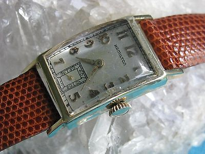 Hamilton BROCK Vintage 14K Gold Deco Wrist Watch, GM Fisher Body Service Award