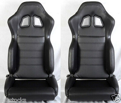 New 2 Black Pvc Leather Racing Seats Reclinable W/ Slider All Chevrolet **