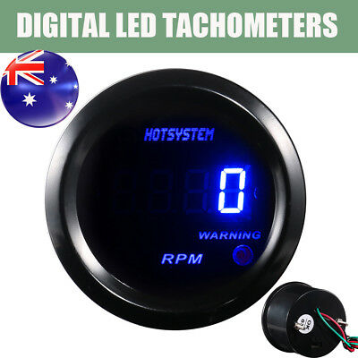 "Car 12V BLACK 2"" BLUE DIGITAL LED TACHOMETERS TACHO GAUGE 4/6/8 Cylinder AU"
