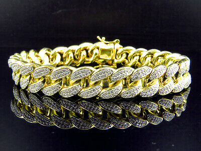 Iced Out Yellow Gold Sterling Silver Miami Cuban Link Lab Diamond Bracelet 13 MM