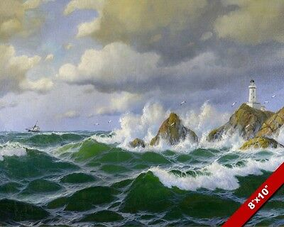 Isle Of Lewis Scottland Lighthouse Painting Canvas Giclee 8X10 Art Print