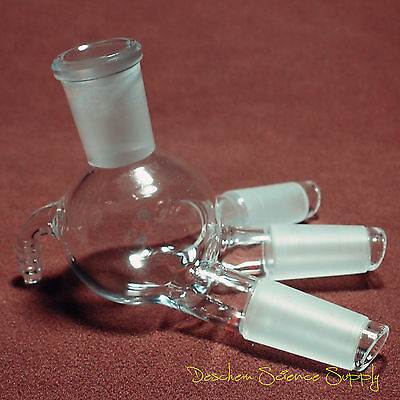 24/40,Glass Distillation Receiver Adapter,Cow Shpae,Lab Chemistry Glassware