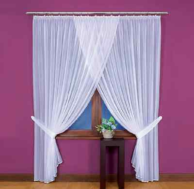 Lovely White Long Crinkle Voile Net Curtain Home Window Decoration Ready Made
