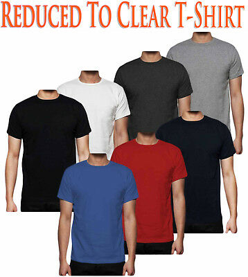 Mens Plain T- Shirt 100% Cotton Short Sleeve Rib Crew Neck Casual Shirt Tee Top