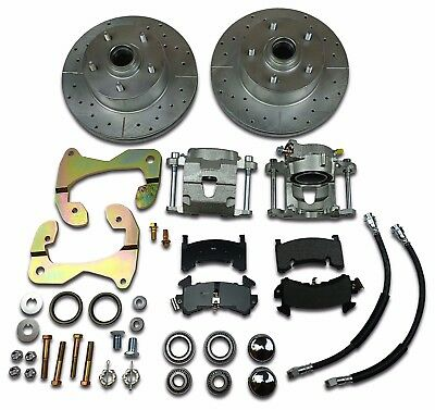 1955 1956 1957 Chevrolet Disc Brake Conversion Kit Front Drilled Slotted Rotors