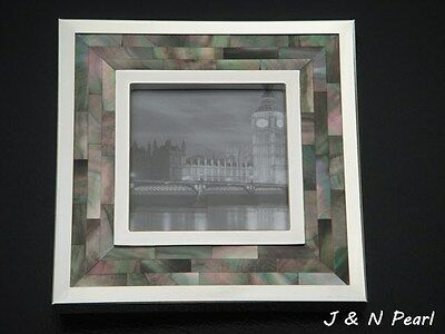 """Picture photo Frame 3""""x3"""",Mother of Pearl Hand Made Silver Electroplating Frame"""