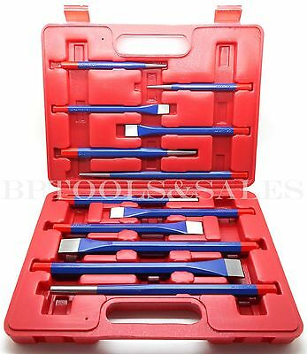 12 Pc Mechanics Steel Metal Punch & Chisel Tool Set Cold/Center/Taper/Column NEW
