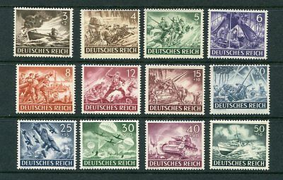GERMANY 1943 WELFARE WAR HEROES MNH Set 12 Stamps