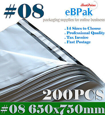 200x Poly Mailer 650x750mm #08 Plastic Satchel Courier Self Sealing Shipping Bag