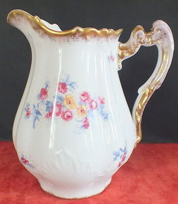 Grand Pichet Broc Toilette Porcelaine Decor Fleurs Et Or Large Pitcher