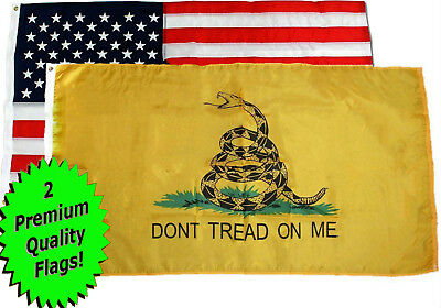 Wholesale LOT 3' X 5' U.S. AMERICAN & Gadsden Dont Tread on Me FLAG Banner 3X5