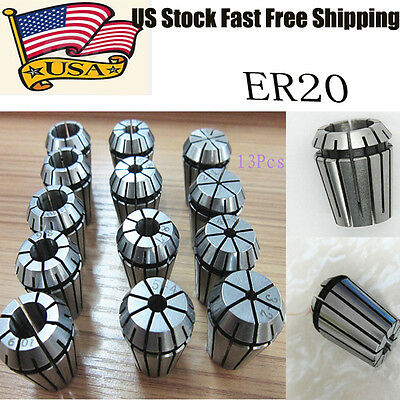 New ER20 Spring Collet Set 13 PCS for CNC Workholding & milling Lathe Tool - US