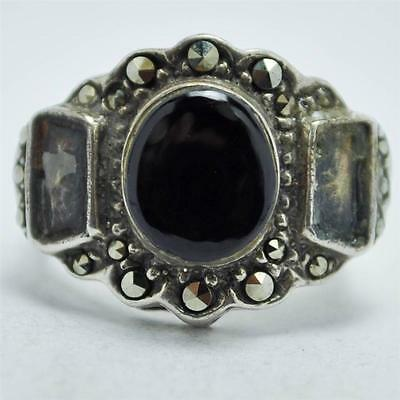 T20C11 Vtg Art Deco Style Oval Onyx Marcasite Sterling Silver Ring Size 5.75