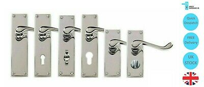 Victorian Chrome Scroll Door Handle Sets Lever LATCH LOCK BATHROOM PRIVACY PACK