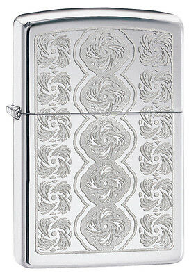Zippo High Polish Chrome Lustre Rose Pattern Windproof Lighter 28657 New