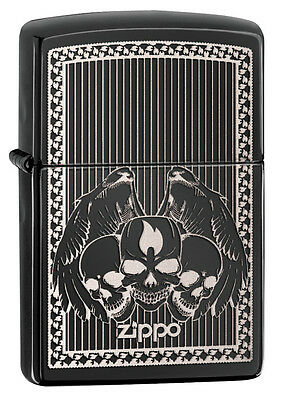 Zippo Ebony Laser Engrave Skulls Windproof Lighter 28678 New