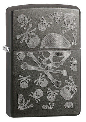 Zippo Gray Dusk IcedUnder Translucent Skulls Windproof Lighter 28685 New