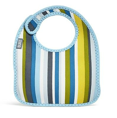 Built NY Mess Mate Set Of 2 Infant Baby Neoprene Bibs Fun Baby Boy Blue Striped