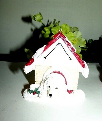 ~White POODLE Christmas MAGNET in dog House CUTE