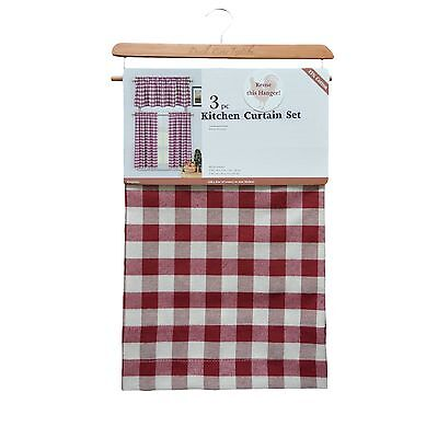 3 Piece Plaid,Checkered, Gingham Kitchen Curtain Set w/ 1 Valance, 2 Tier Panels