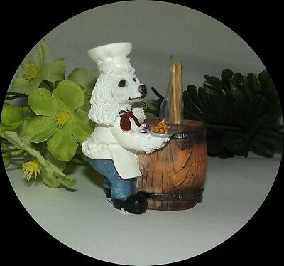 ~White POODLE kitchen TOOTHPICK HOLDER NEW in the box NICE