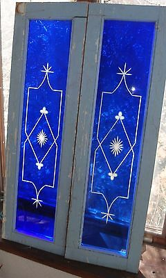 Antique wheel cut stained glass windows
