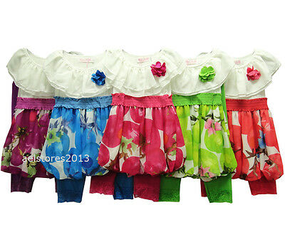 Girls Party Top Dress Summer 2/3pc Legging Set Floral Age 2 10 year New Fashion