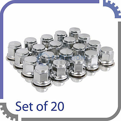 20pc OE Mag Style Lug Nuts with Washer | 12x1.5 | Toyota Lexus (Chrome Silver))