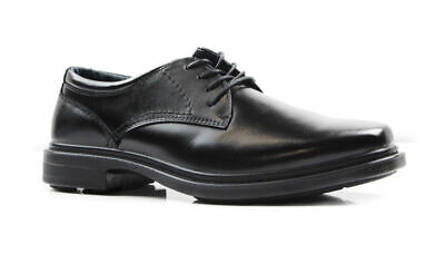 Mens Hush Puppies Dene Extra Wide Men's Black Leather Work Wedding Formal Shoes