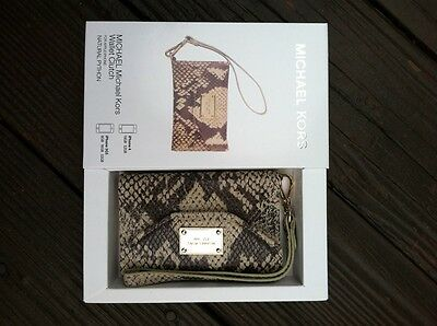 45e7205ede60 Michael Kors iPhone 4/ 4S Wallet Wristlet Case In Natural Tan Pyrhon Leather