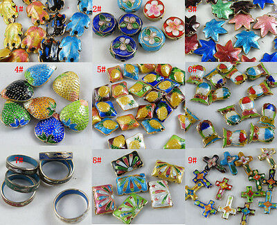 20/14pcs Cloisonne Enamel Owl,Leaves,Cross,Ring etc.Spacers/Charms