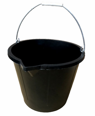 NEW !! Black RUBBER builders bucket 3 gallon 15L / 15 litres  with metal handle