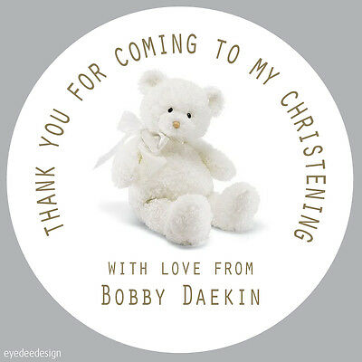 35x Personalised Christening Party Thank You Envelope Seals Stickers Baby - 235