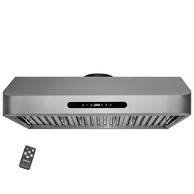 """36"""" Euro Design Island Mount Low Noisy Range Hood Stainless Steel Touch Control"""