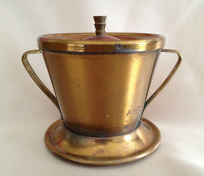 Art Deco Brass Push Down Ashtray with Handles