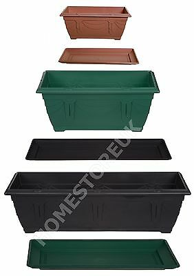 Rectangular Window Box Plastic Planter Pot/water Base Tray Plant Outside Garden