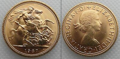 Collectable Gold full Sovereign 1967 coin Queen Elizabeth II ,, George & Dragon