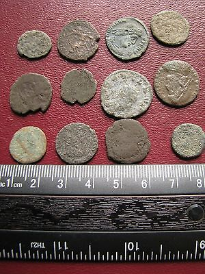 Lot of 12 Authentic Ancient Roman Coins   Mostly 3rd to 5th Centuries A.D. 12296