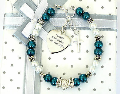 Baby Christening Name Day Personalised Jewellery Bracelet Engraved Heart Charm
