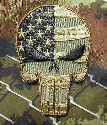 Punisher Skull Usa Waving Flag Tactical Us Army Morale Isaf Forest Iron On Patch