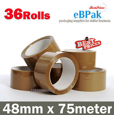 36x - Brown Tape - Packing Packaging Sticky Tape 75 Meter x 48mm - 45 Micron