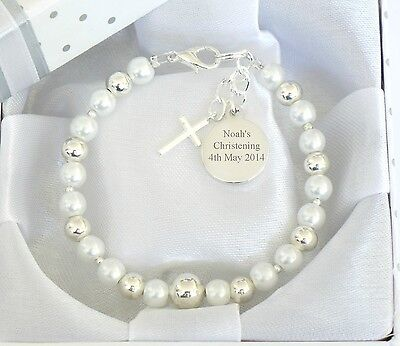 BABY BOY GIRL Personalised & Engraved Bracelet Christening Day Gift Birthday