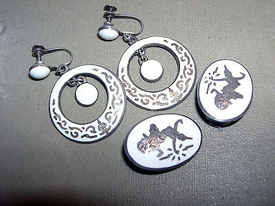 2 Pair Lot~Vintage SIAM STERLING Silver White Enamel Earrings~Dangles & Buttons