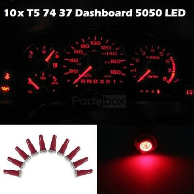 10x LED Dashboard Instrument Light Bulbs SMD T5/286 Wedge Red 17 37 73