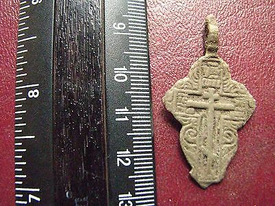 Metal Detector Find > 18th-19th C Bronze Russian Orthodox Baptism Cross E4-3