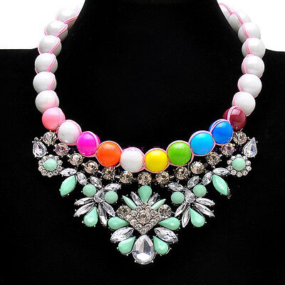 Fashion Resin Pearl Chain White Crystal Bead Pendant Choker Statement Necklace