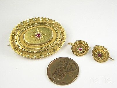 ANTIQUE ENGLISH VICTORIAN 15K GOLD RUBY DIAMOND BROOCH & EARRINGS SET c1880